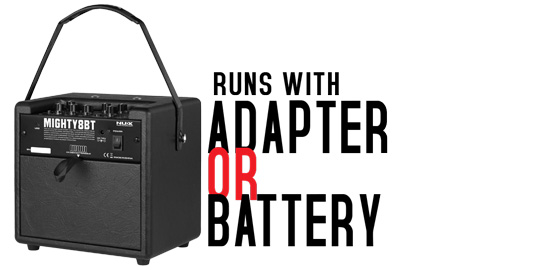 Mighty8BT runs on Battery or Adaptor