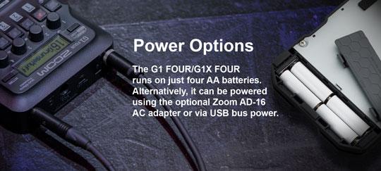 Zoom G1 FOUR runs on batteries, AC Adaptor or USB