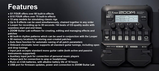 Zoom G1 FOUR Features