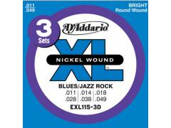 D'Addario XL 11-49 Blues/Jazz Rock Pack of 3 - EXL115-3D