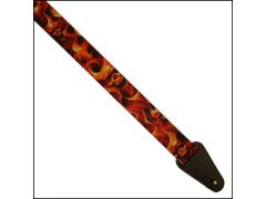 Colonial Leather Printed Web Strap - Fire Skull