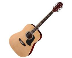 Aria Acoustic Dreadnought Guitar Natural Satin Finish