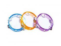 "Tambourine Clear Head 6"" 5 Jingle Transparent Colours"